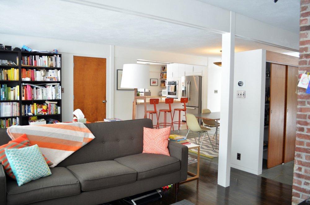 Living room toward Kitchen  Mid-Century Modern renovation