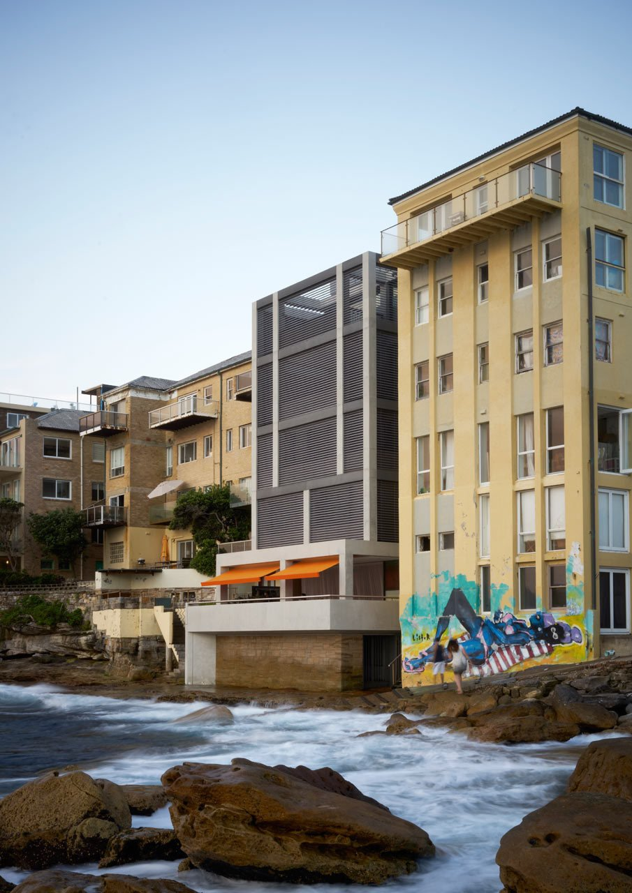 Spanning five levels, all of which vary in height, the house has balconies on each of the floors that project out to maximize the water views. The layout also allows the house to be separated into two different apartments if they have guests in town. #designmilk #bondibeach #tobiaspartners  A Dream-Worthy Beach House at Bondi Beach