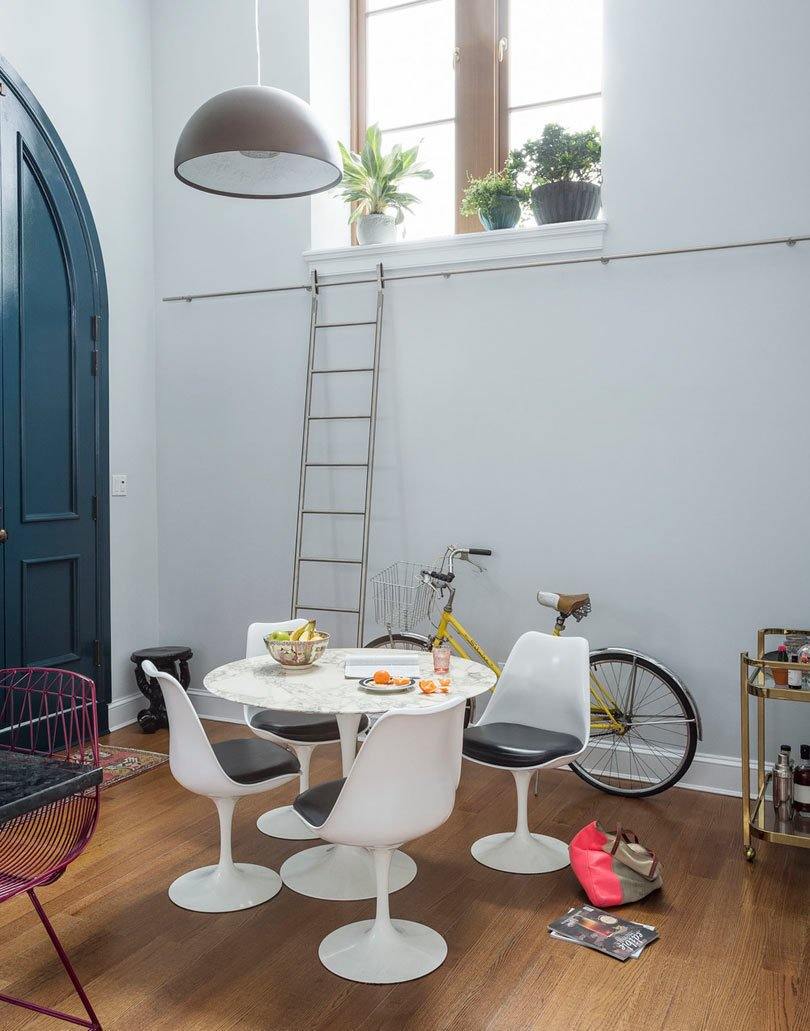 Cobble Hill Chez Church is a conversion designed by LABLstudio. The multi-level apartment now features modern furnishings and clean lines but it still respects the church's architectural elements.  Photo 9 of 10 in Traditional Churches Become Modern Homes