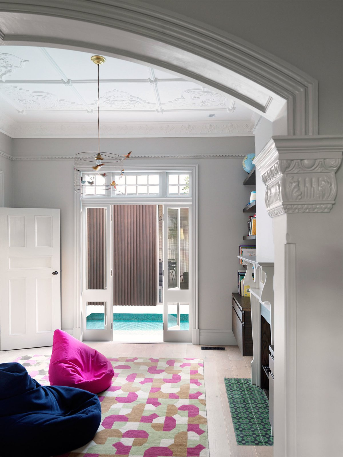 To maintain the wealth of the turn of the century ornaments and details takes some skill. Repairing and adapting the old features are continuously threatened by the easy way out approach of removing them. Fortunately the builder had valued tradespersons that never found any tasks too difficult. © Justin Alexander  The Pool House by Luigi Rosselli Architects