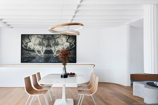 The dining area features an 'Oracle' pendant by Christopher Boots, as well as a painting by Joshua Yeldham.