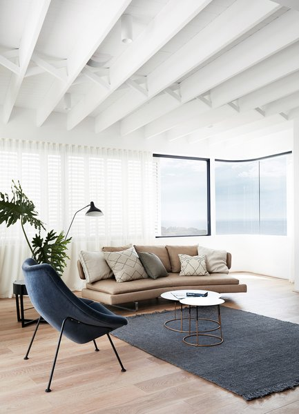 Notice the striking ceiling joists, which are supported by traditional criss-cross braces.