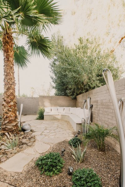 #modern #courtyard #wood #landscape #glass #sculpture #organic #succulent #phoenix #arizona  Curves House by The Ranch Mine