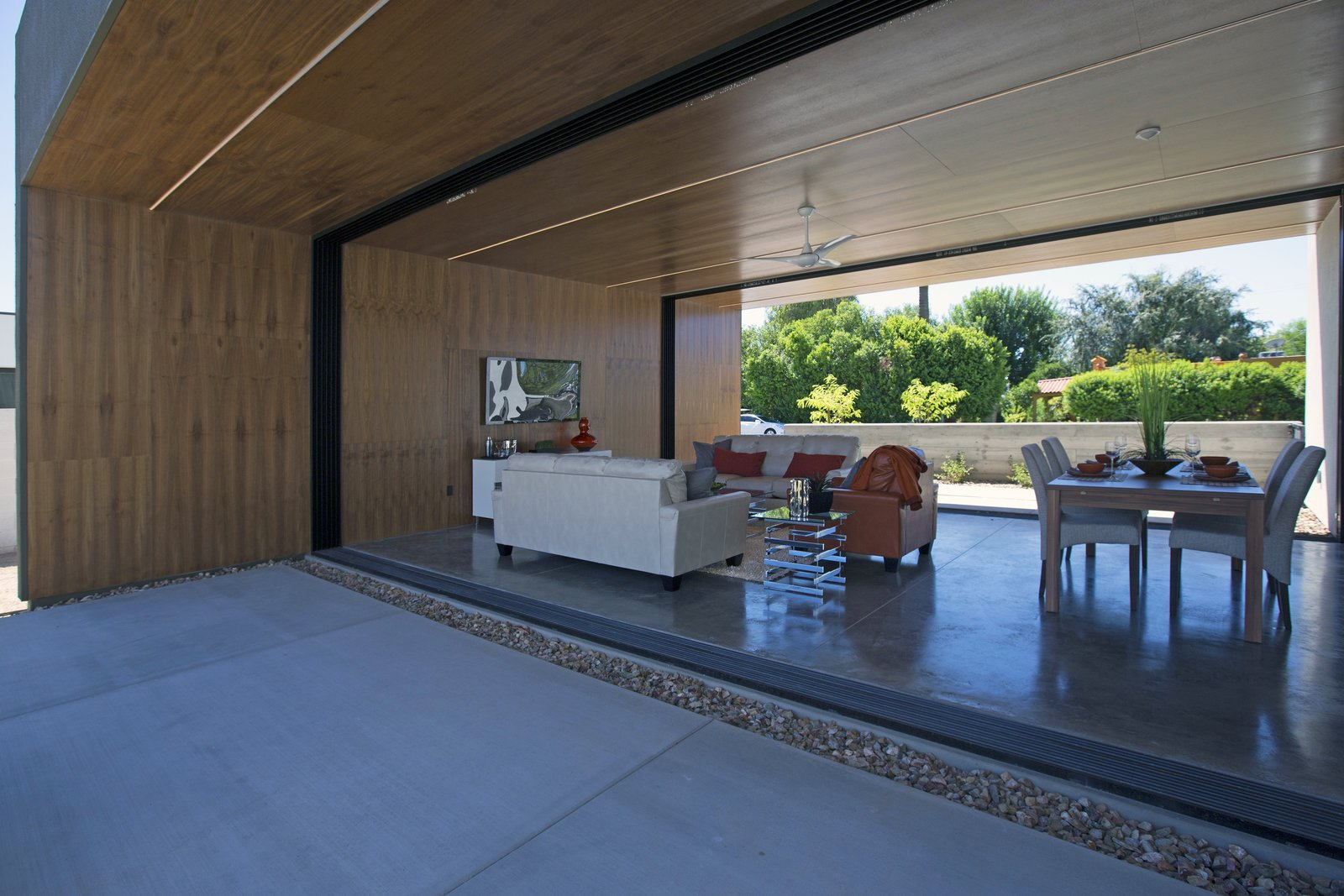 Trees, Back Yard, Concrete Patio, Porch, Deck, Ceiling Lighting, Concrete Floor, Grass, and Living Room #modern #minimal #indooroutdoor #phoenix #arizona  Best Photos from Glass Walls • Windows • Sliding Walls