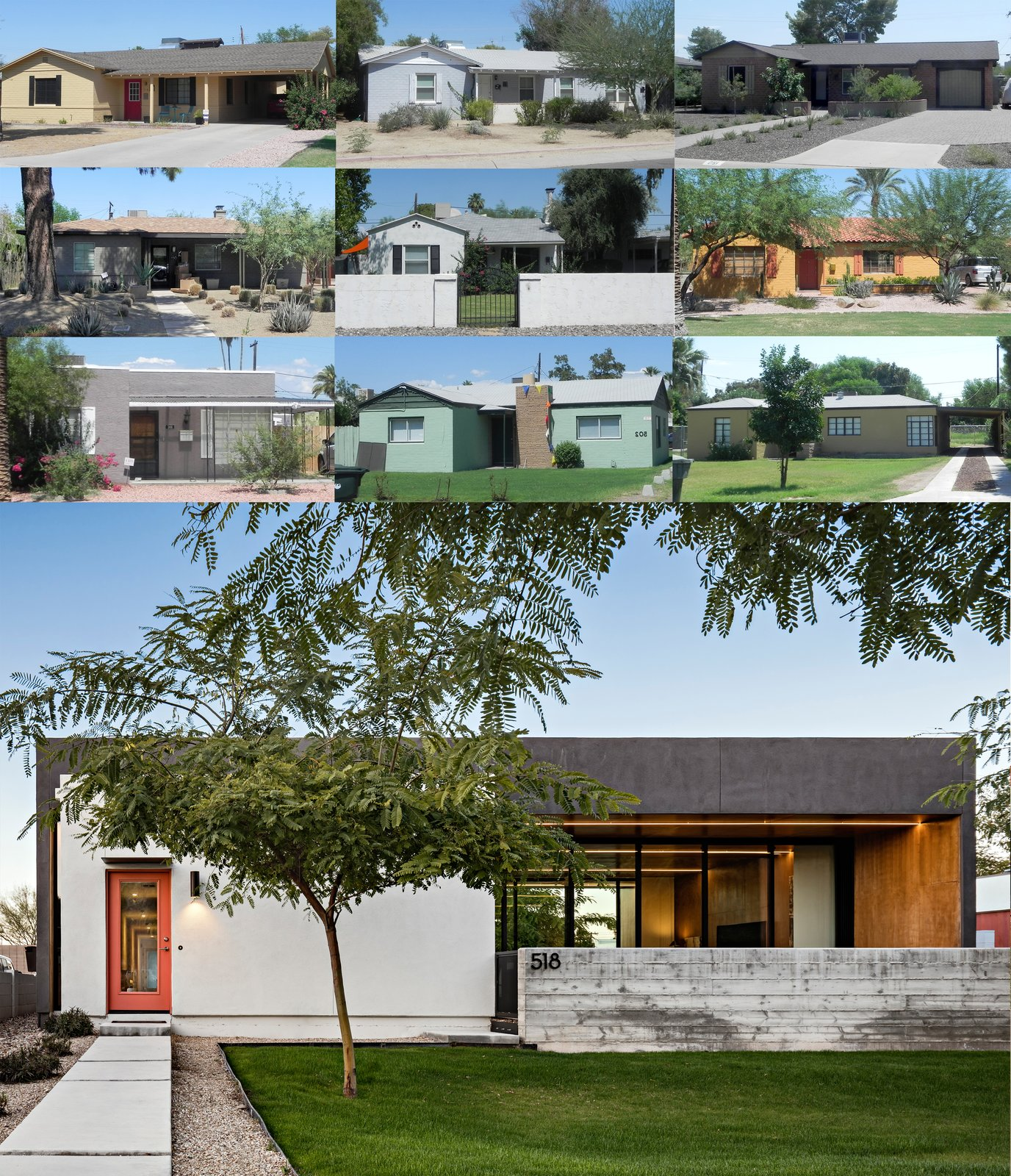 Outdoor Compilation of the front elevations of the historic homes in the neighborhood and the resulting modern elevation of 'Link'  Link House by The Ranch Mine