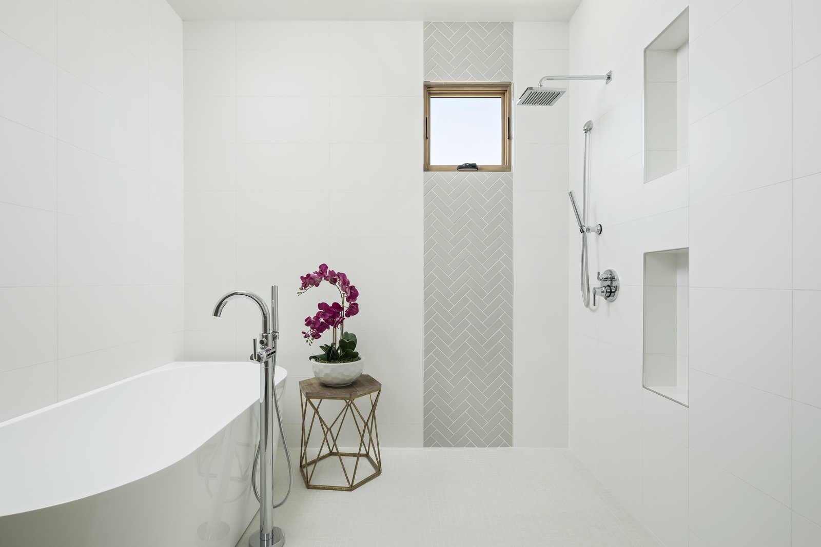 Bath Room, Engineered Quartz Counter, Undermount Sink, Porcelain Tile Floor, Freestanding Tub, Open Shower, Wall Lighting, Ceiling Lighting, Ceramic Tile Wall, Concrete Floor, and Porcelain Tile Wall Master Shower and Bathtub  Canal House by The Ranch Mine