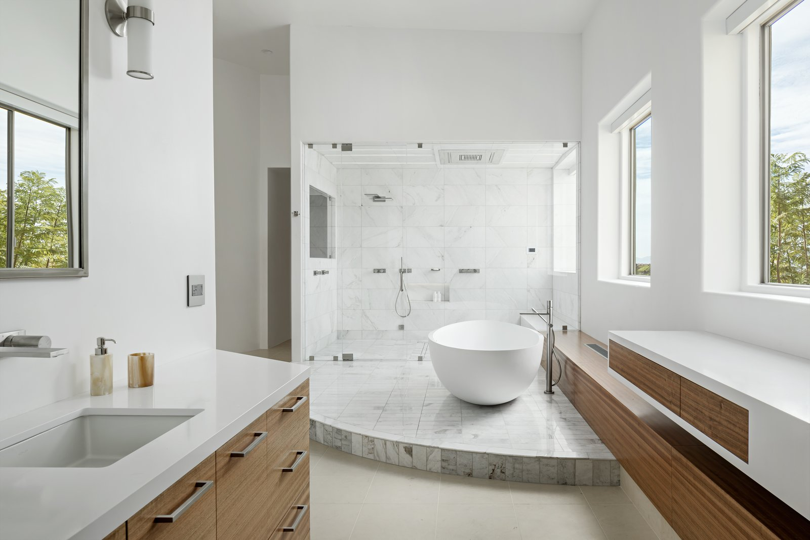Bath, Undermount, Engineered Quartz, Freestanding, Enclosed, Marble, Marble, Wall, and Full Both vanities with freestanding tub and steam shower in the background  Best Bath Marble Wall Photos from Cliff House
