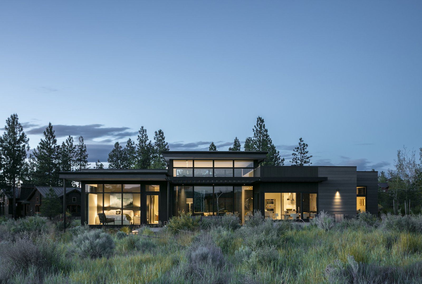 Exterior, Flat RoofLine, House Building Type, and Wood Siding Material Exterior view  High Desert Modern