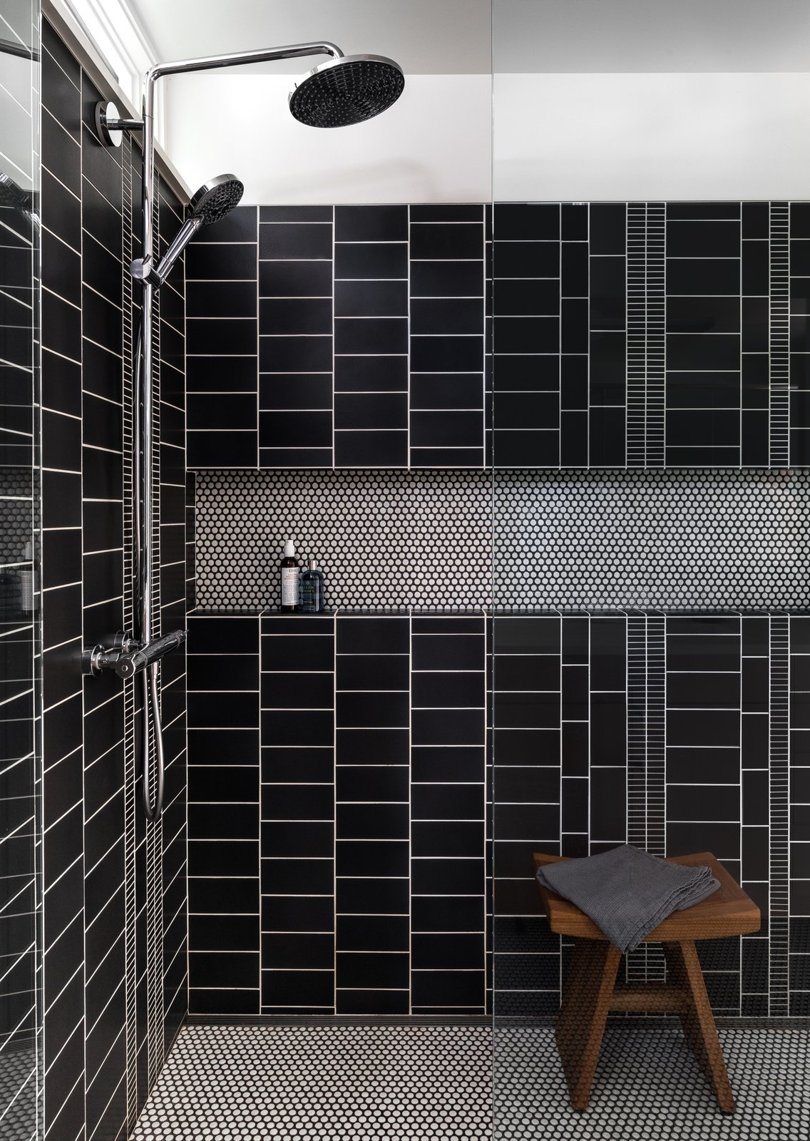 Bath Room, Ceramic Tile Floor, Open Shower, and Porcelain Tile Wall Master Bath shower  Tree House by DeForest Architects