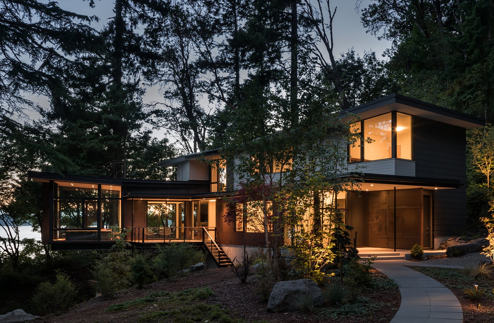 Exterior, Flat RoofLine, Wood Siding Material, and House Building Type Exterior  Tree House by DeForest Architects
