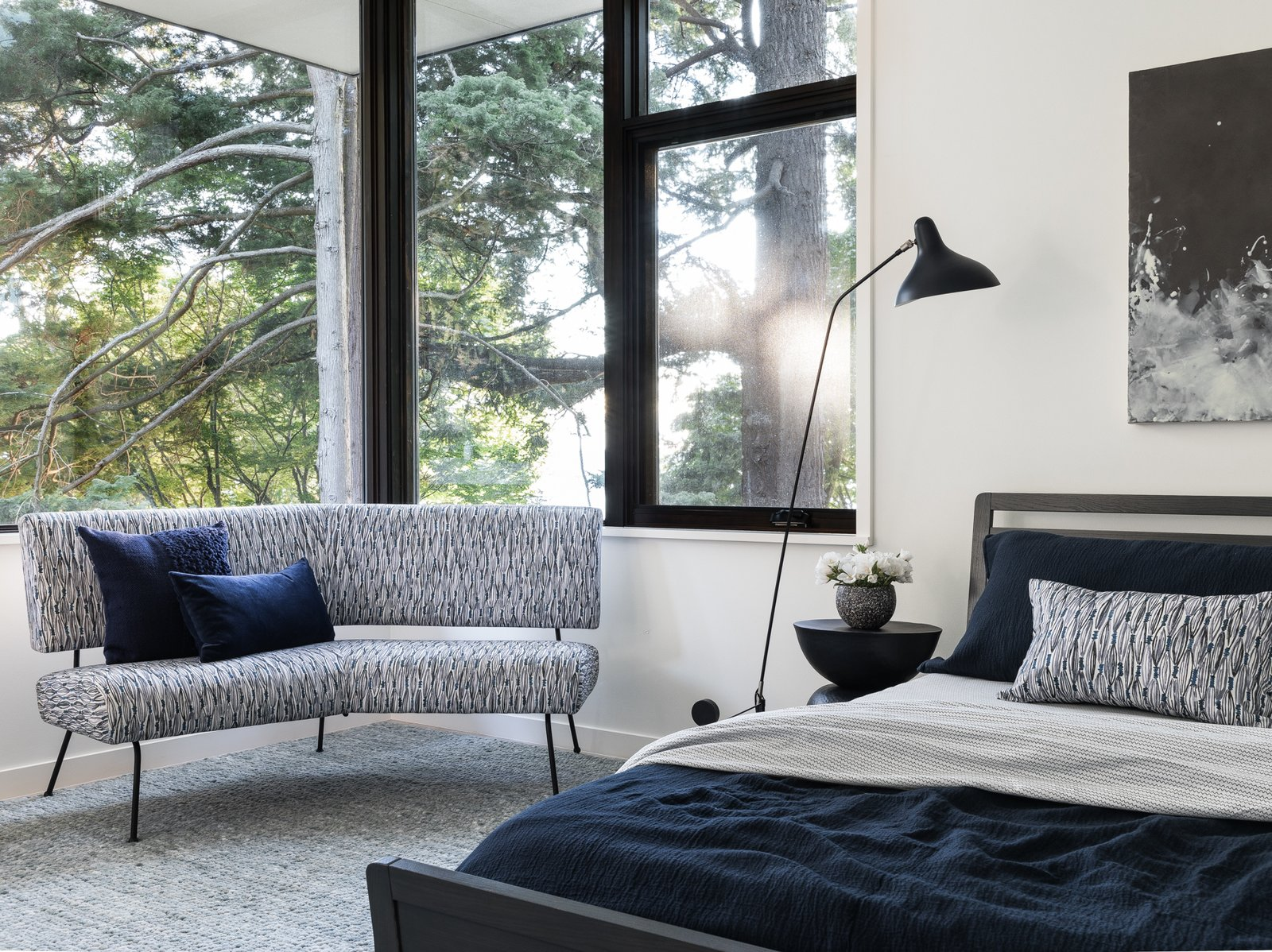 Bedroom, Chair, Carpet Floor, Bed, and Floor Lighting Master Bedroom  Tree House by DeForest Architects