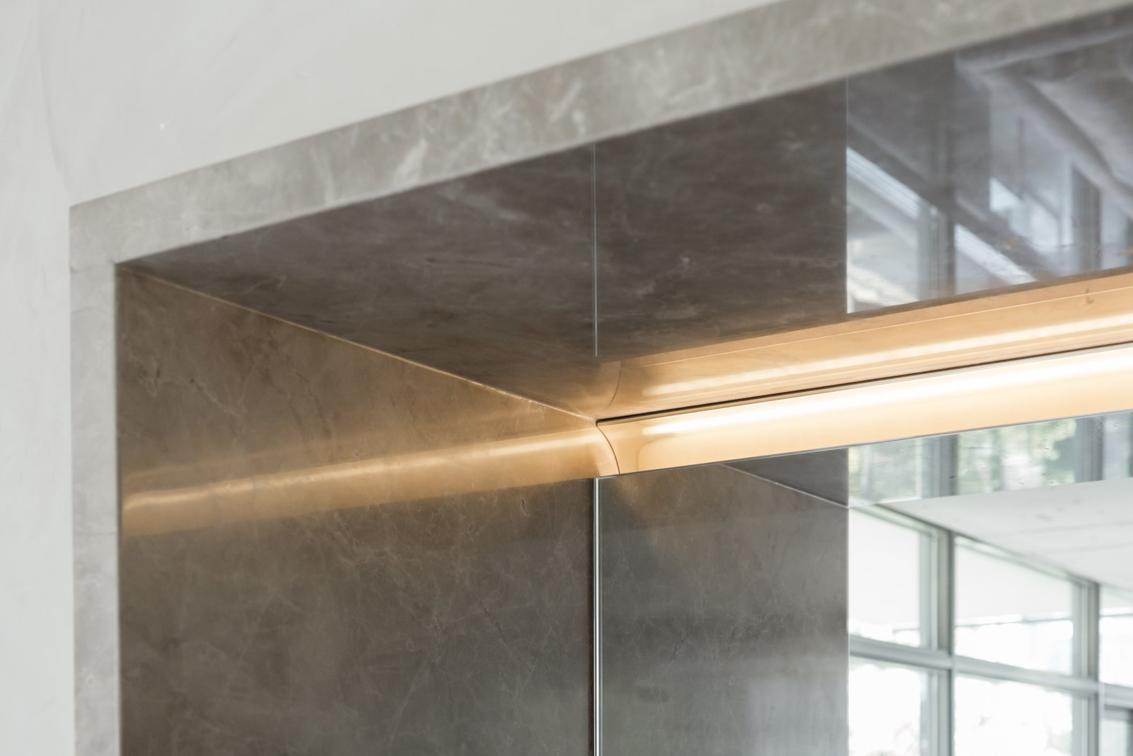 Recessed lighting is integrated  Thompson Hotel Private Suite by ANTHONY PROVENZANO ARCHITECTS