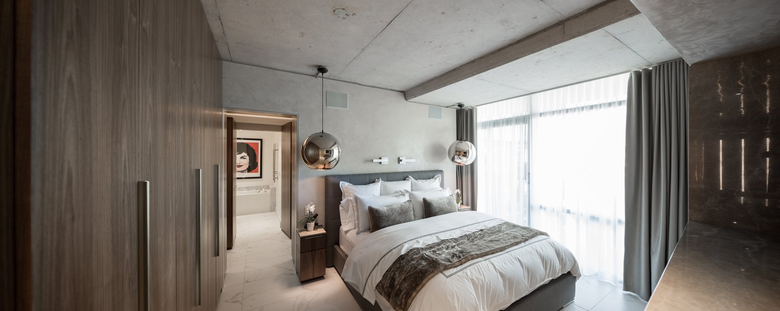 The Master Suite Bedroom.  Thompson Hotel Private Suite by ANTHONY PROVENZANO ARCHITECTS