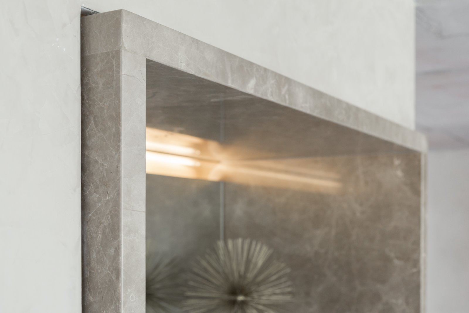 """The subtle shifts: the typical detail was that stone would always extend 2"""" beyond it's adjacent surface.  Thompson Hotel Private Suite by ANTHONY PROVENZANO ARCHITECTS"""