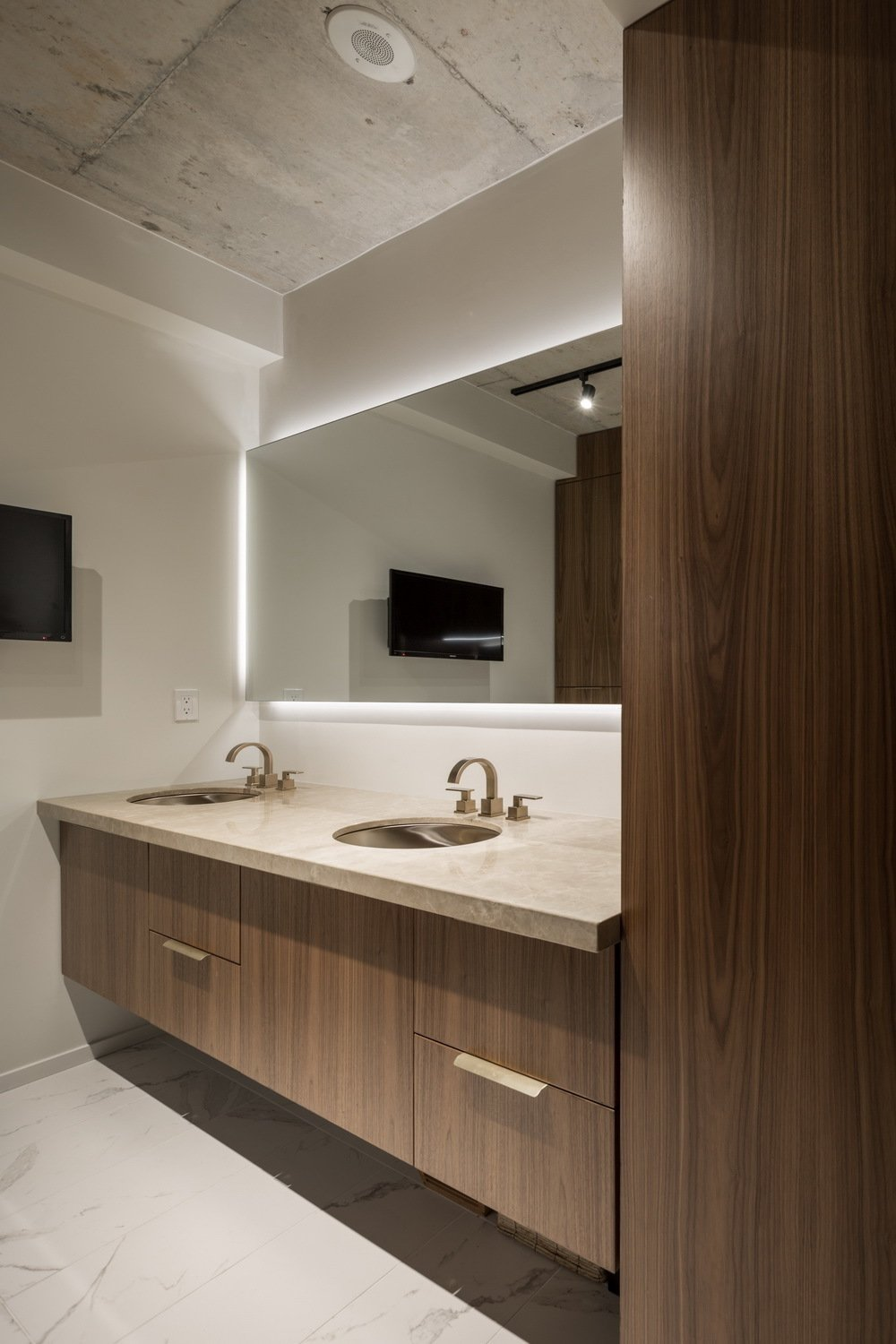 The new custom designed double vanity.  Thompson Hotel Private Suite by ANTHONY PROVENZANO ARCHITECTS