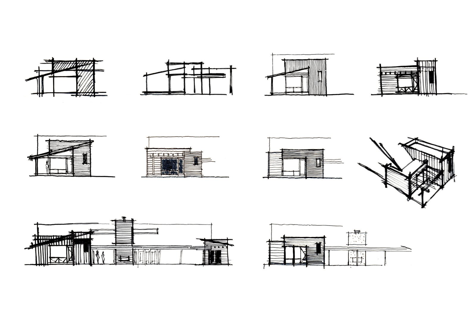 Exterior, House Building Type, Wood Siding Material, and Flat RoofLine [schematic design sketches // myd studio, inc.]  Villa Park Modern by MYD studio, inc. from Architectural Drawings