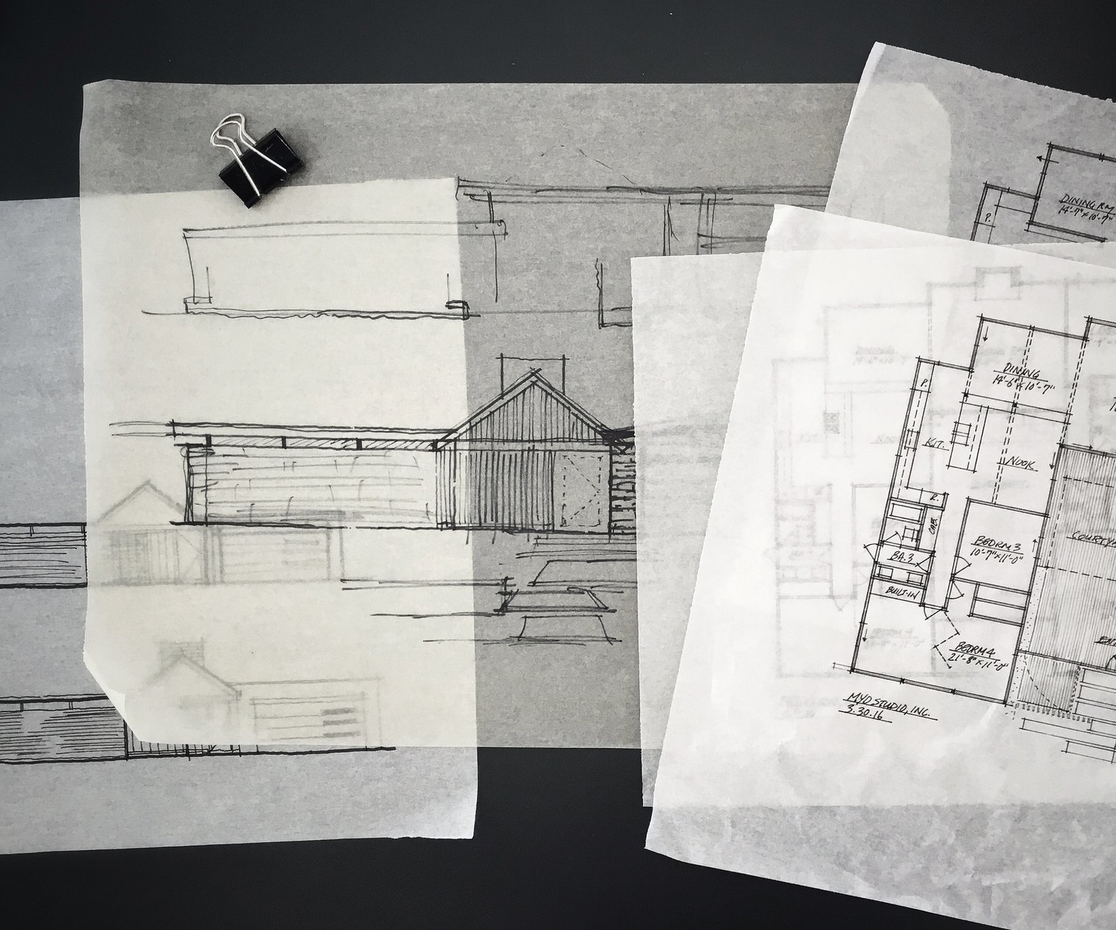 mid-century floor plan + elevation design studies  [eichler addition + renovation, orange county california]  Renderings, prototypes and such from Architectural Drawings