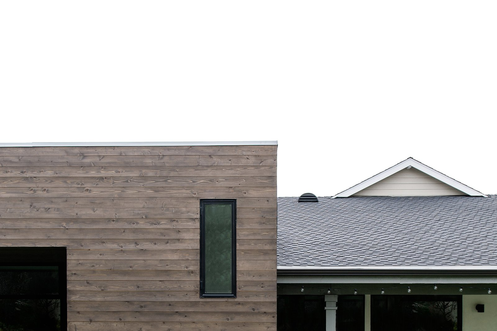 Outdoor, Back Yard, Concrete Patio, Porch, Deck, and Horizontal Fences, Wall cedar cladding + flat roof at rear addition  [villa park modern addition + renovation, california]  Villa Park Modern by MYD studio, inc.