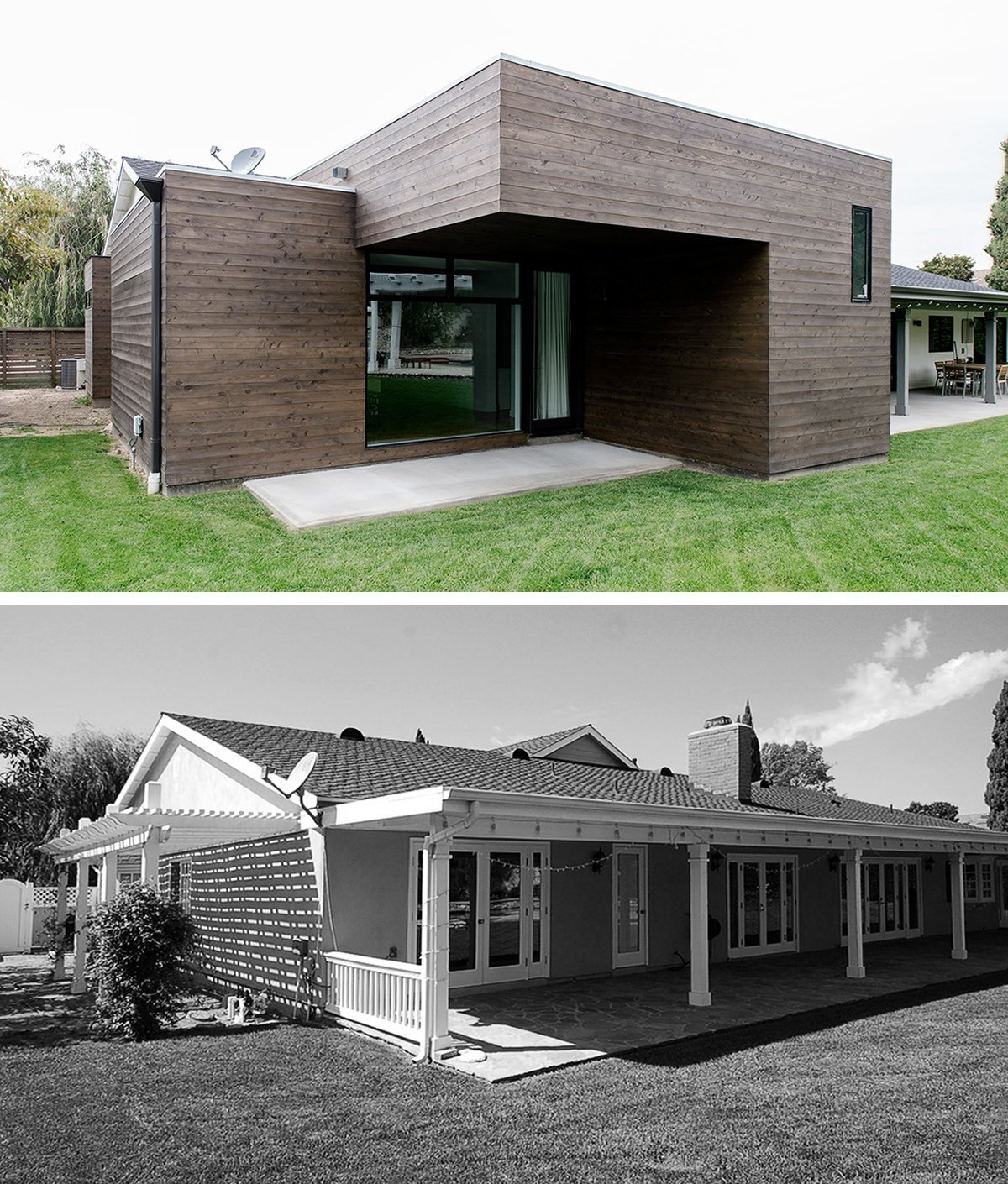 Outdoor, Hardscapes, Grass, Large Patio, Porch, Deck, Wood Patio, Porch, Deck, Concrete Patio, Porch, Deck, and Horizontal Fences, Wall AFTER / BEFORE   [addition at rear, villa park modern]  Villa Park Modern by MYD studio, inc.