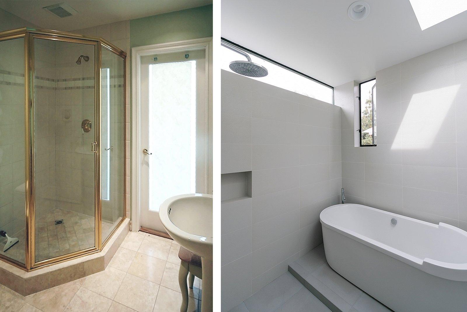 Bath Room BEFORE / AFTER  [master bathroom, villa park modern]  Villa Park Modern by MYD studio, inc.