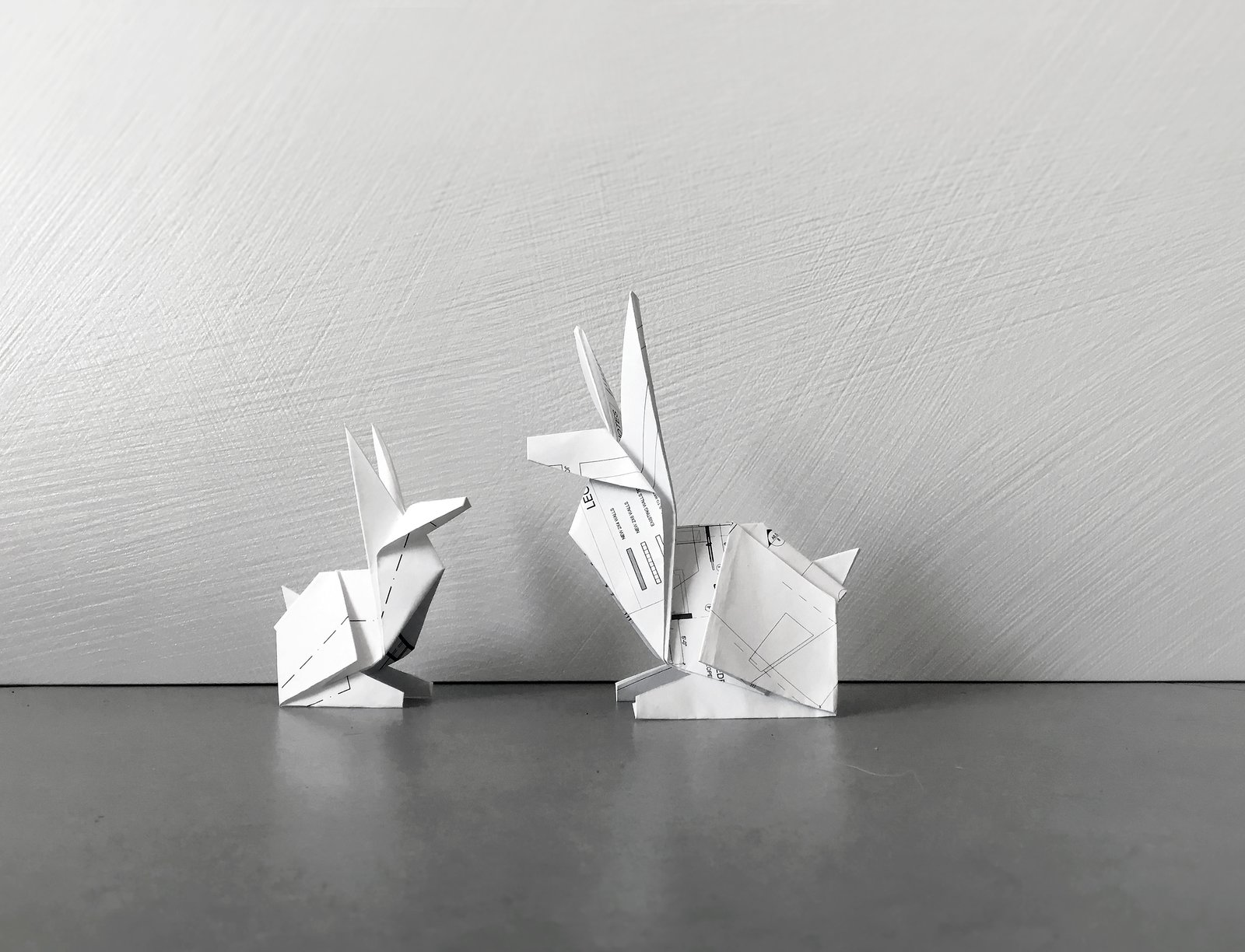 floor plan origami bunnies  (repurposed architectural drawings  :)  Architectural Drawings