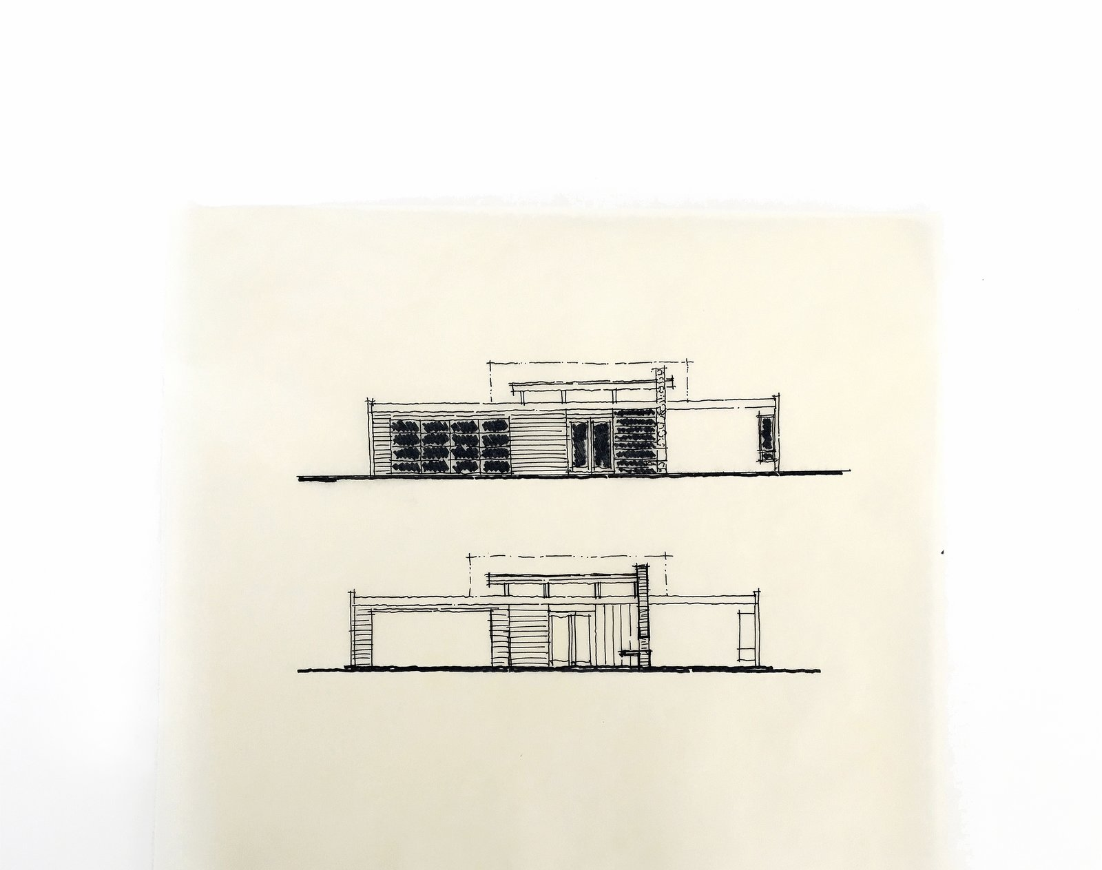 elevation hand sketches / architectural design process  [mid-century modern addition + renovation, laguna niguel california]  Architectural Drawings