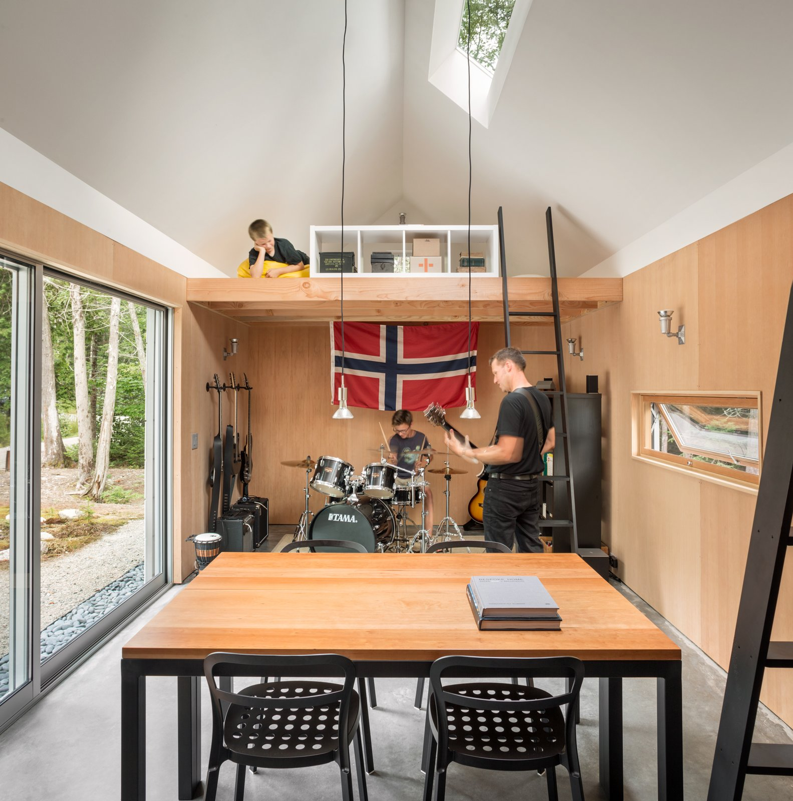 Kids Room, Playroom Room Type, Family Room Room Type, Storage, Bookcase, Chair, Teen Age, Concrete Floor, Pre-Teen Age, and Neutral Gender Rehearsal Space  The Long Studio by 30X40 Design Workshop