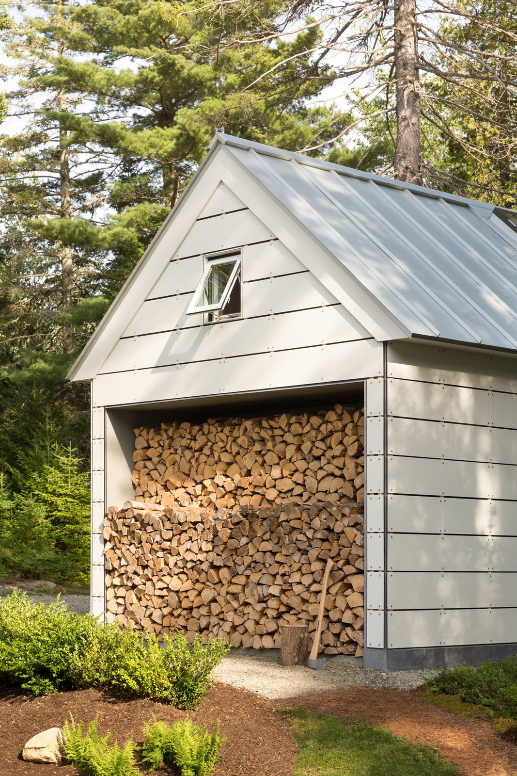 Outdoor, Back Yard, Wood Patio, Porch, Deck, Gardens, Shrubs, and Concrete Patio, Porch, Deck Firewood Storage  The Long Studio by 30X40 Design Workshop