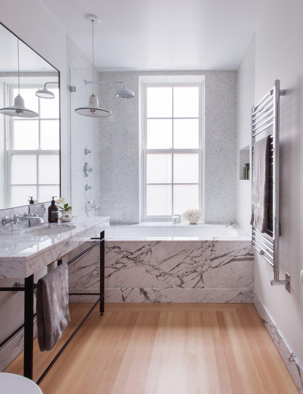 Bath Room, Marble Counter, Light Hardwood Floor, and Undermount Tub Clinton Hill Townhouse Renovation - Master Bath  Photo 4 of 7 in 7 Brooklyn Row Houses Renovations from Clinton Hill Townhouse