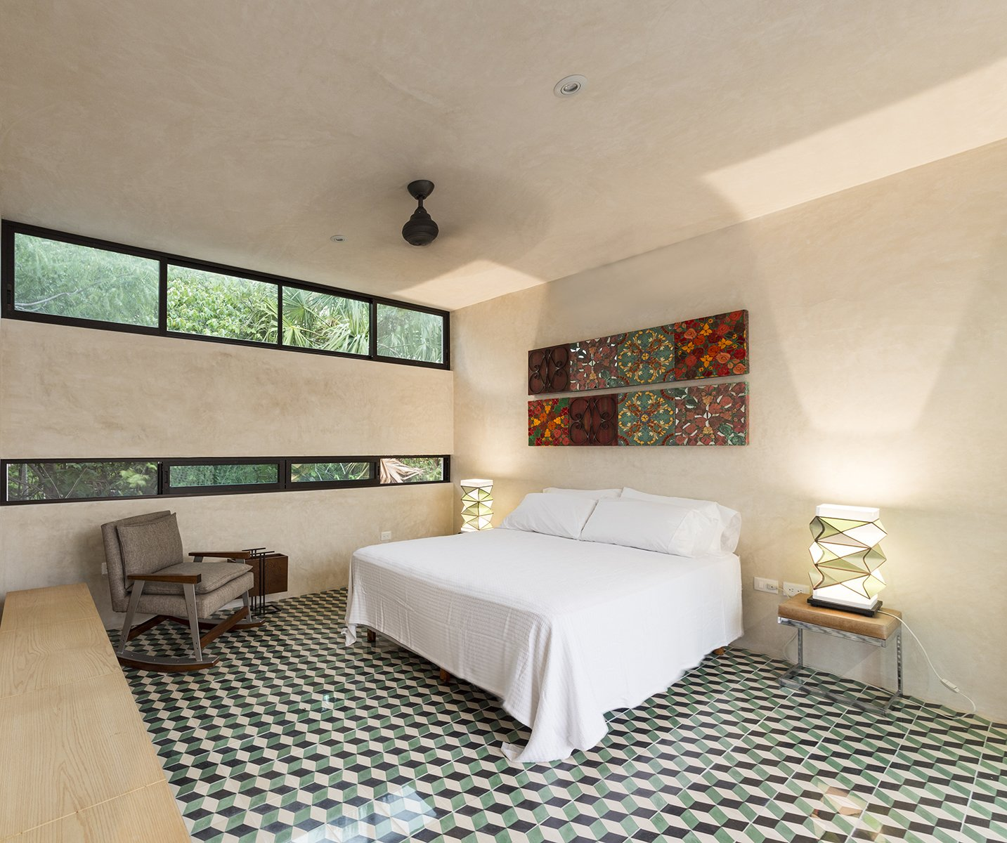 Bedroom, Bed, Table, Cement Tile, Chair, and Bench Upstairs bedroom take advantage of the natural surounding from the neighborhood  Best Bedroom Chair Cement Tile Photos from Lemon Tree House