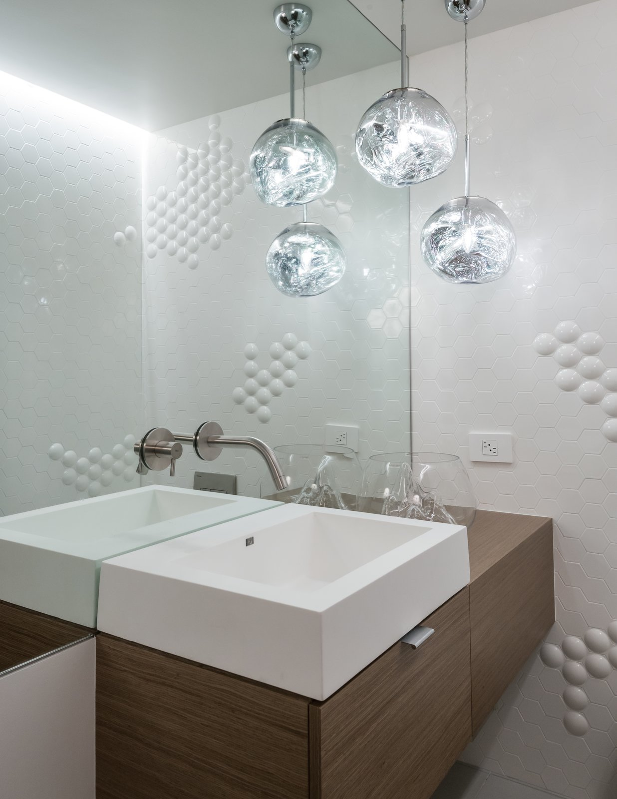 "Powder Room features Tom Dixon ""Mini Melt' pendants.  Montgomery Station (BART) wall tile pays homage to the Owner's San Francisco roots.  San Francisco Meets Jackson Hole in a Modern Renovation"