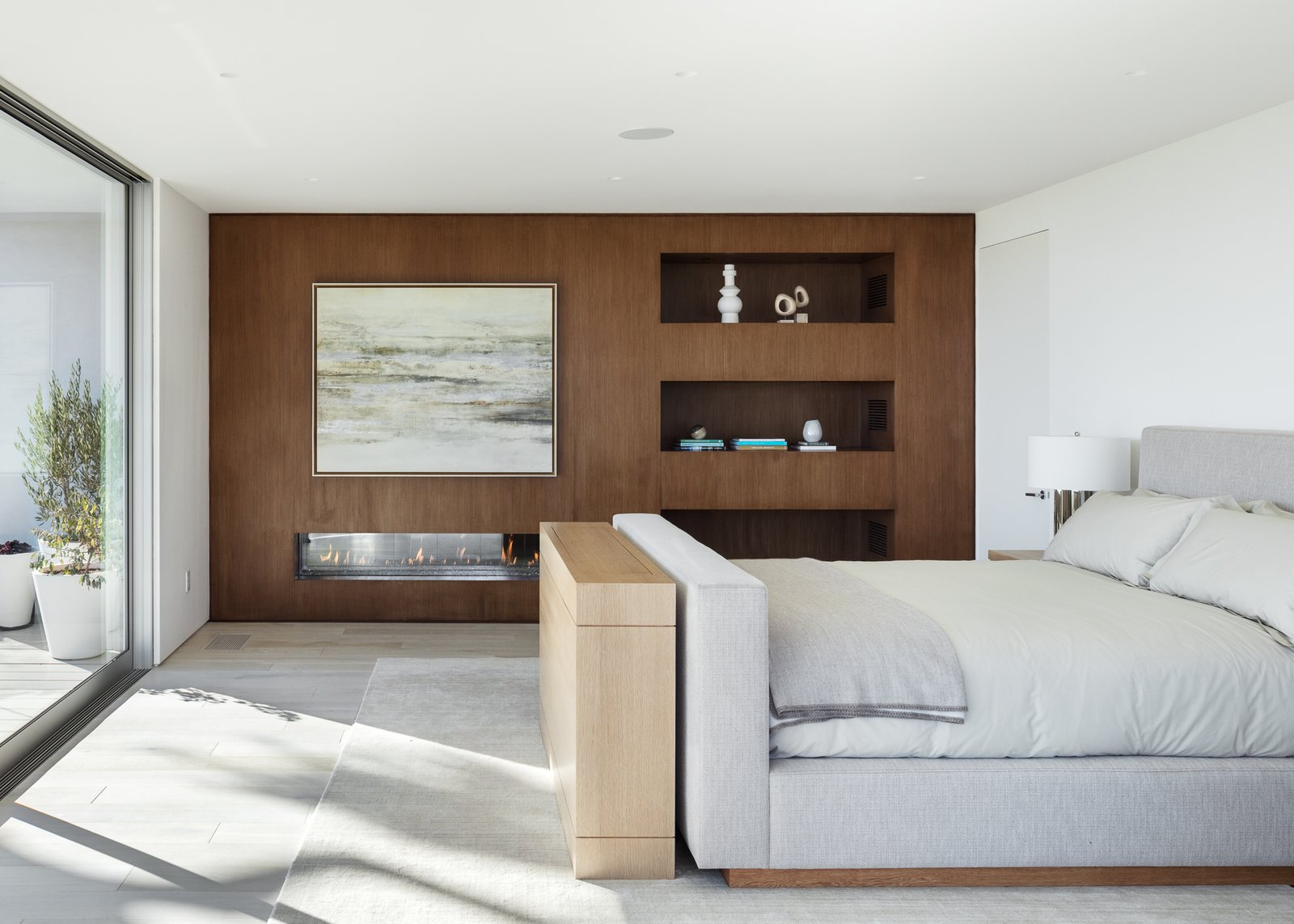 Bedroom, Bed, Accent, Bookcase, Recessed, Night Stands, Shelves, Ceiling, and Light Hardwood Master Bedroom   Best Bedroom Ceiling Shelves Photos from Minimal House One