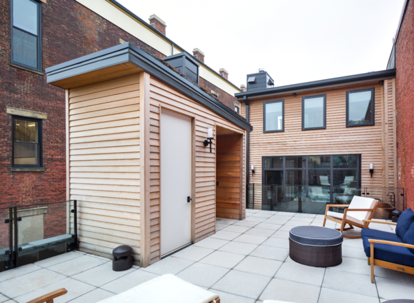 Tiered terrace space creates multiple opportunities for outdoor experiences with a public and private separation. The upper floor contains children's bedrooms, the master suite, outdoor fireplace and even a Japanese soaking tub- a true retreat nestled within the bustle of the city!