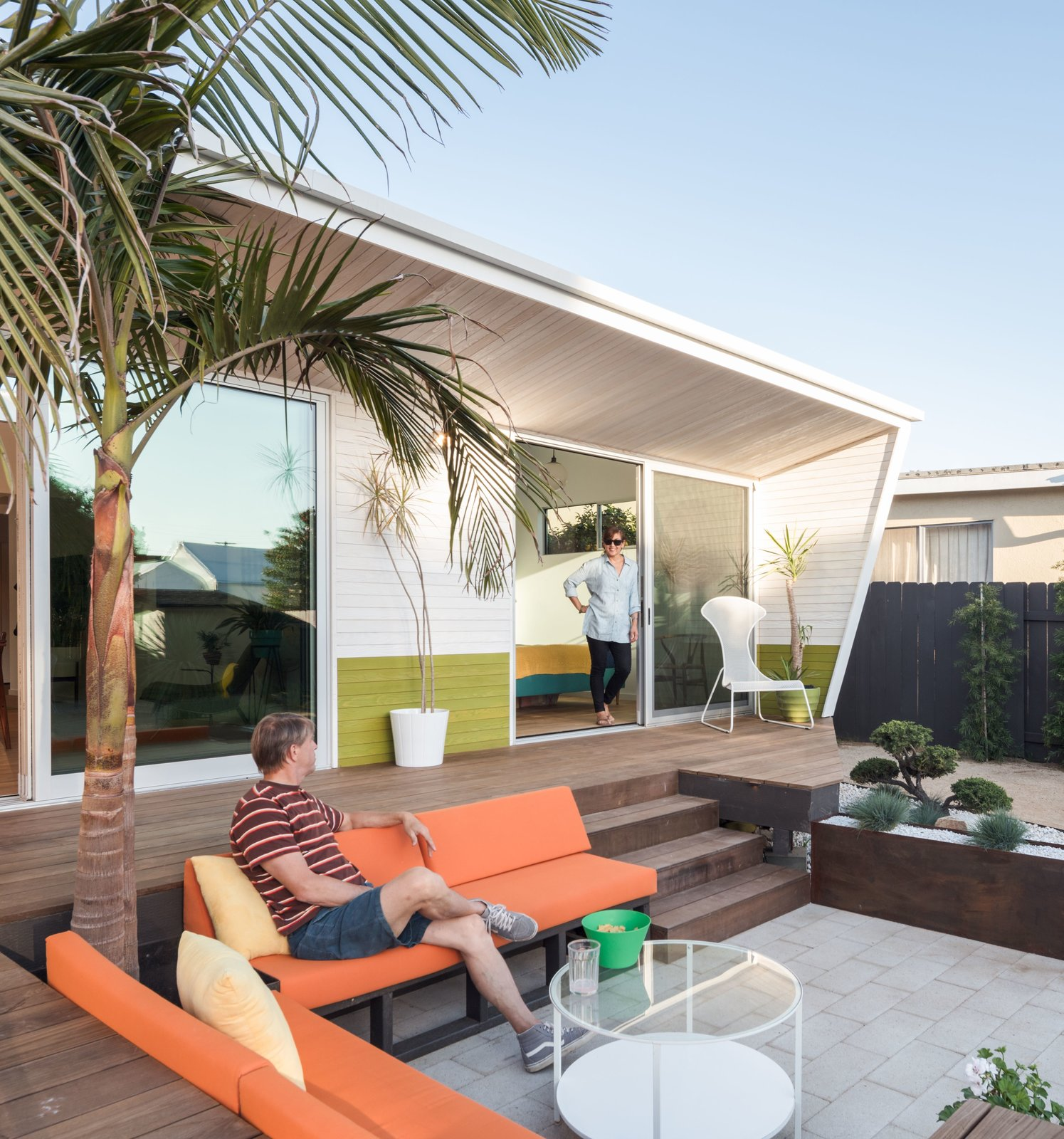 Outdoor, Back Yard, Trees, Raised Planters, Wood Patio, Porch, Deck, Vertical Fences, Wall, and Wood Fences, Wall corten steel planter + Bonsai garden  The Beach Lab by Surfside Projects