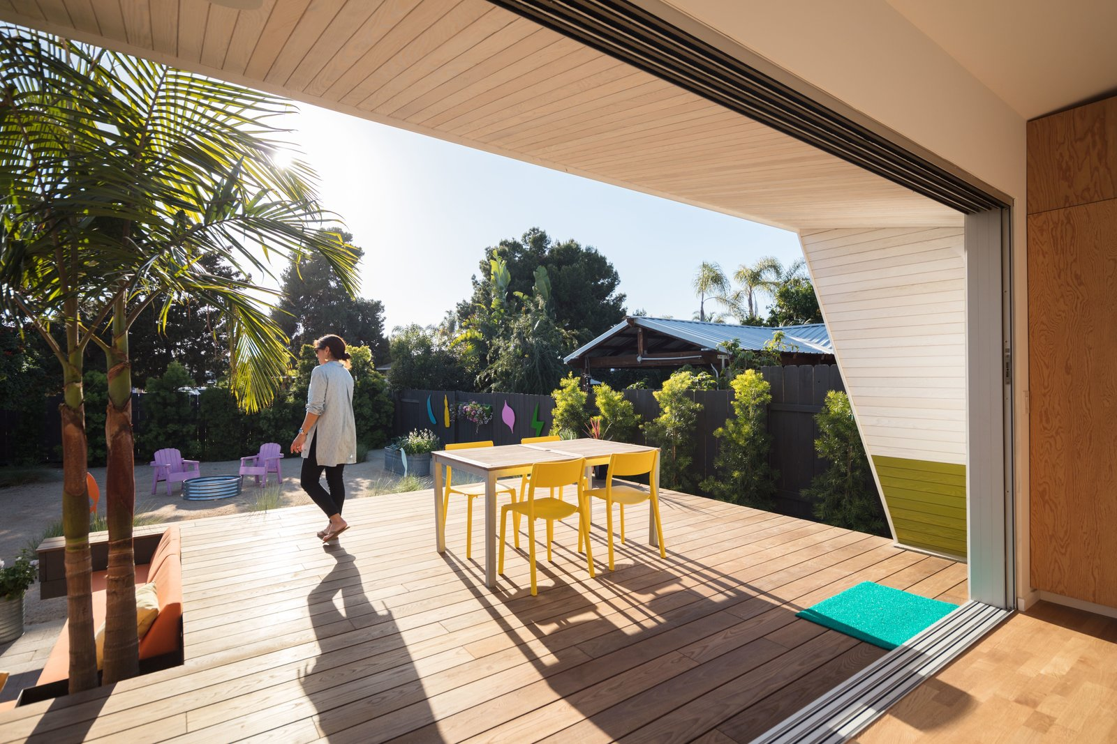 Thermory.com wood decking + Western Window Systems series 600 multi-slide glass doors  The Beach Lab by Surfside Projects