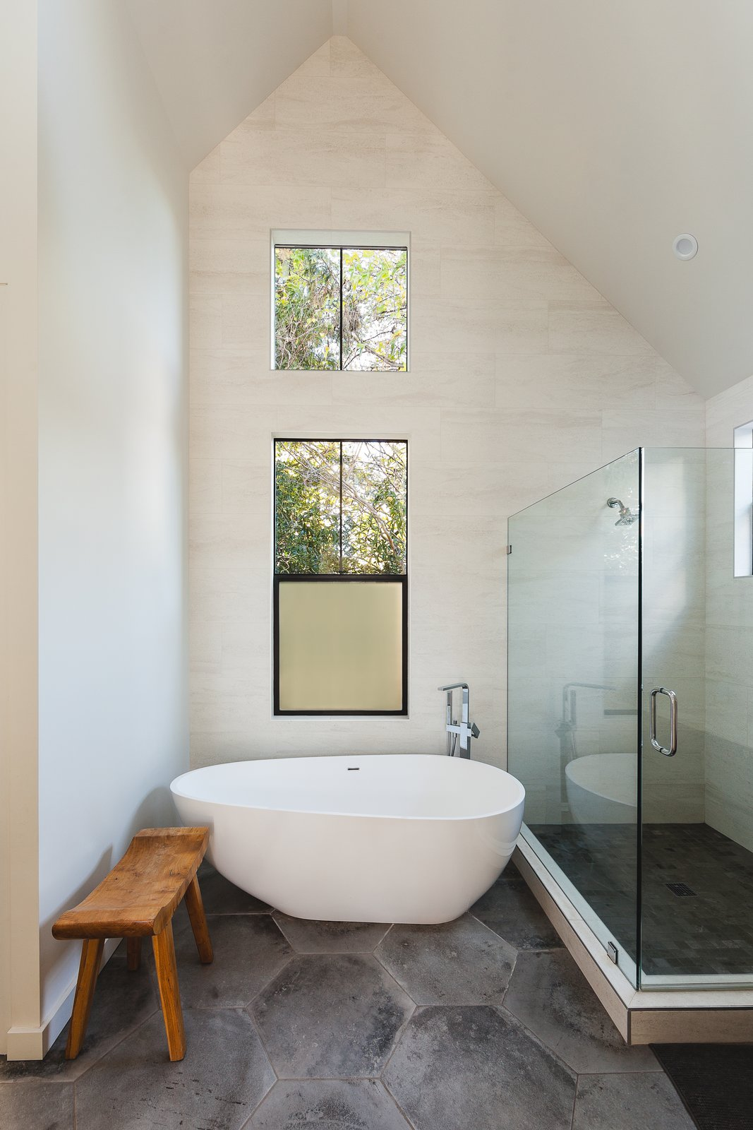 Bath, Porcelain Tile, Freestanding, Ceiling, Soaking, and Corner master bathroom  Bath Corner Freestanding Photos from Sonoma Farmhouse