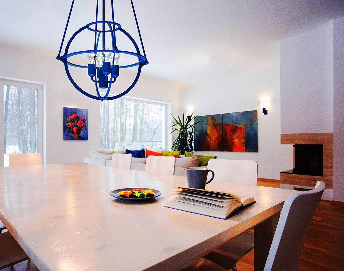 """The Cosmo Pendant by Boyd Lighting comes in 12 powder coat colors, like """"Cadet"""" blue, to pop in any interior.  Delicious Dining Room Lighting"""