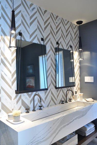 These Optic Pendants are shown in the 2016 San Francisco Decorator Showcase master bathroom designed by Tineke Triggs. #lighting #pendants #bathroom #BoydLighting #industrial  Boyd Lighting Freshens Up Bathrooms