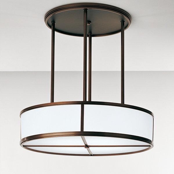 This Barbara Barry designed ceiling pendant by Boyd Lighting is the perfect lighting fixture for residential spaces such as bedrooms, bathrooms, living rooms, dining rooms and kitchens. This fixture is also a workhorse for commercial and hospitality spaces. Available in a soft Satin Aluminum finish and five standard powder coat options, can be customized to match any color scheme. Also available in two flush mount sizes. #pendant #lighting #drumshade #drumpendant  60+ Modern Lighting Solutions by Dwell