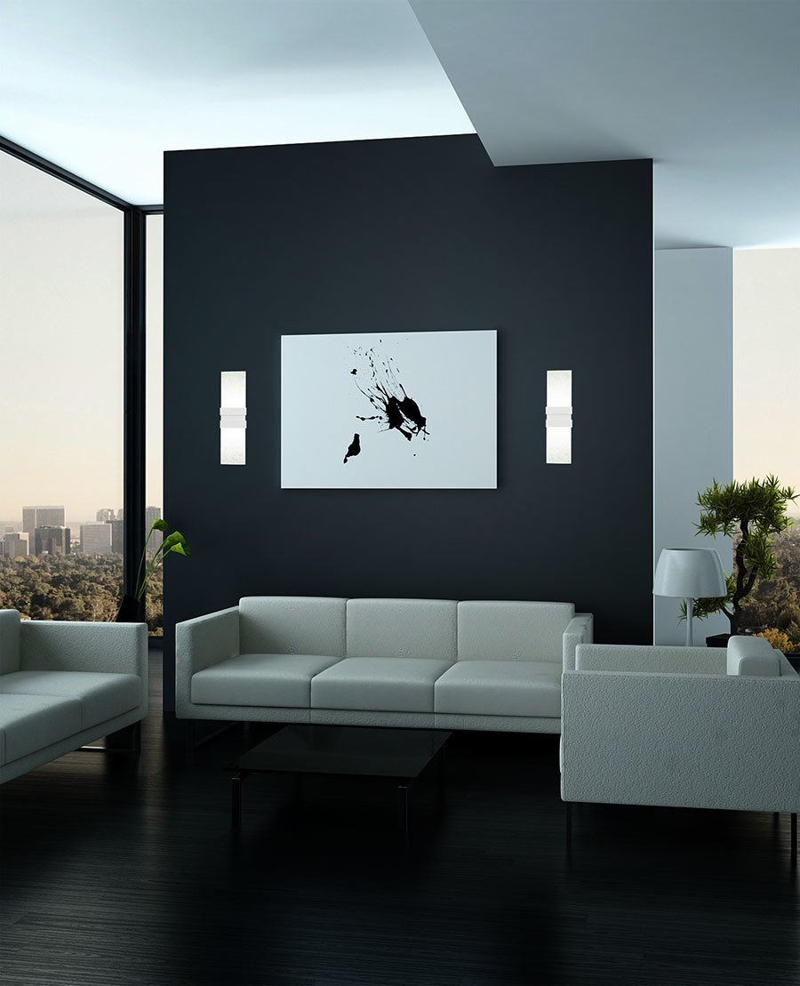 """It is virtually impossible to capture the effervescent beauty of this large LED sconce, but the name says it all. The architectural Tonic Sconce by NYC designer David Nosanchuk for Boyd Lighting """"fizzes"""" with drama, and its low profile and energy efficient lamping makes it a smart choice for residential, commercial and hospitality projects. #livingroom #livingroomlighting #sconce #livingroomsconce #glasssconce #glasslighting #lighting #whitelighting  60+ Modern Lighting Solutions by Dwell"""