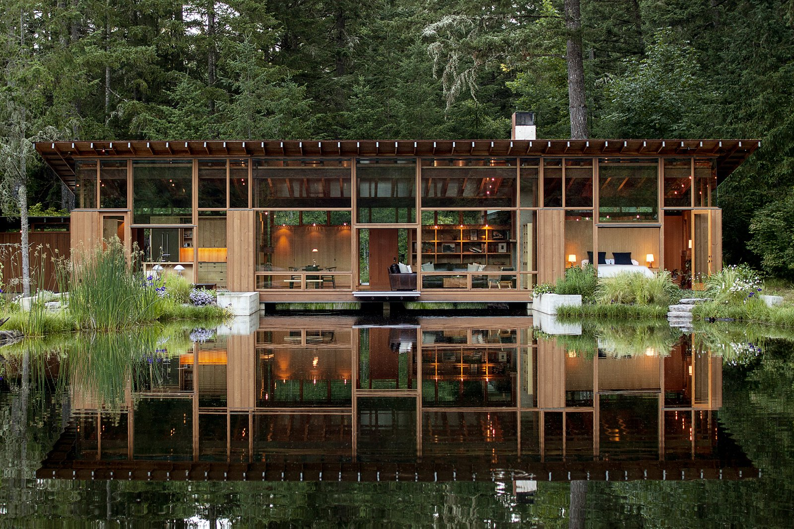 Newberg Residence by Cutler Architecture: Part bridge, part residence, this home-on-a-pond earned the highest honor from the 2016 AIA awards  Photo 2 of 28 in 16 Architects on Regional Style and What American Design Means to Them from Building Bold: New Concepts