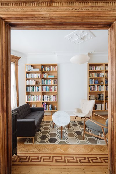 Study fitted out with new custom white oak bookshelves