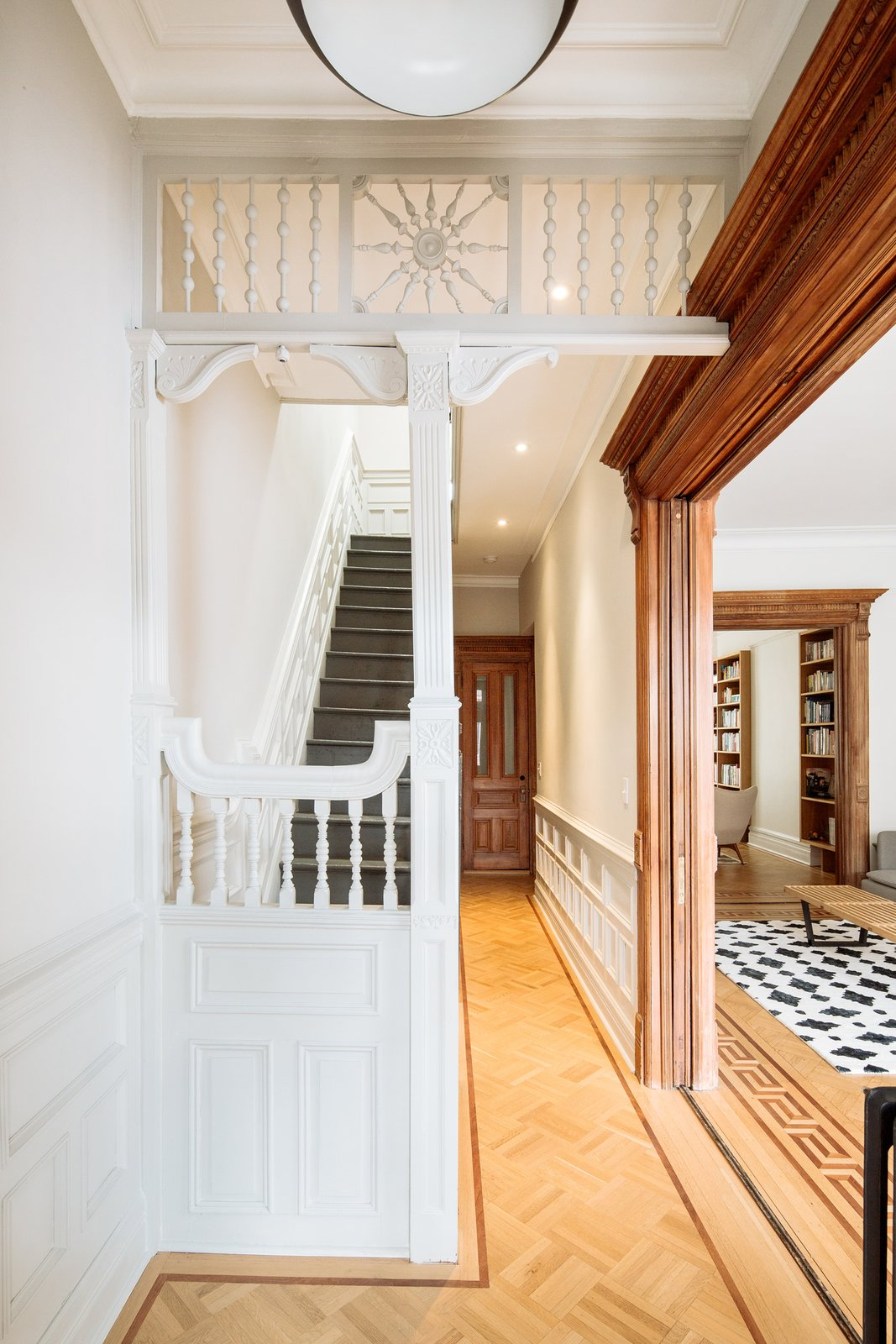 Staircase, Wood Tread, and Wood Railing Entry stair   Brooklyn Brownstone by Sonya Lee Architect llc