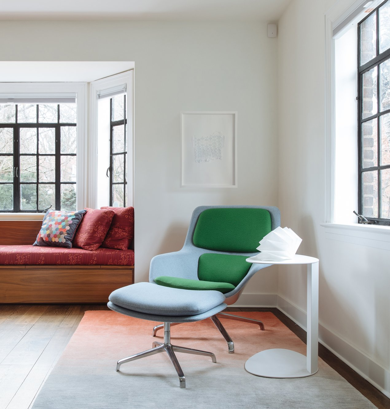 Living, Dark Hardwood, Bench, Recessed, Recliner, End Tables, Ottomans, and Medium Hardwood Living Room reading corner  Best Living Ottomans Bench Photos from Tennis House