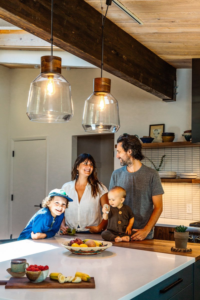 Kitchen, Porcelain Tile, Wood, Colorful, Ceramic Tile, Ceiling, and Pendant As seen in Boulder Lifestyle Magazine  Best Kitchen Porcelain Tile Colorful Photos from Boulder Kitchen