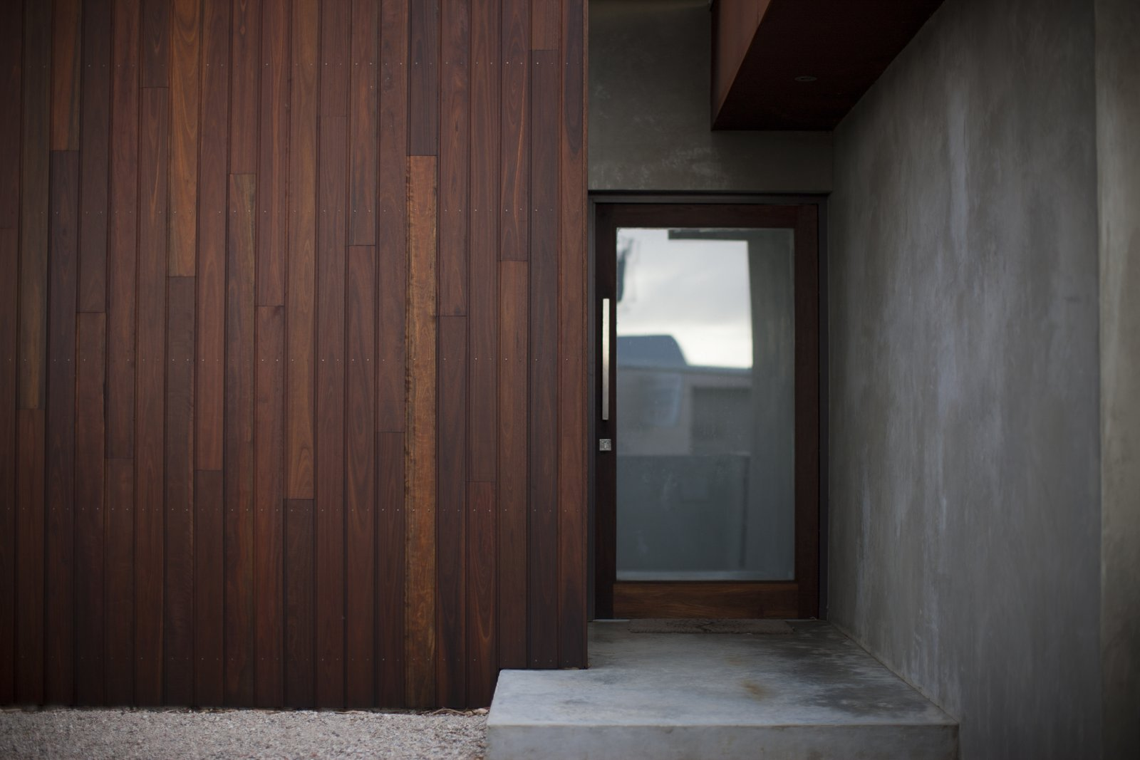 Front Entry Spotted Gum Cladding   Pod Residence by Bespoke Architects