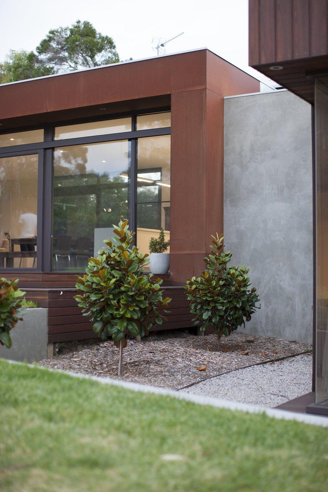 Entertaining Deck & Coreten Eyelash  Pod Residence by Bespoke Architects