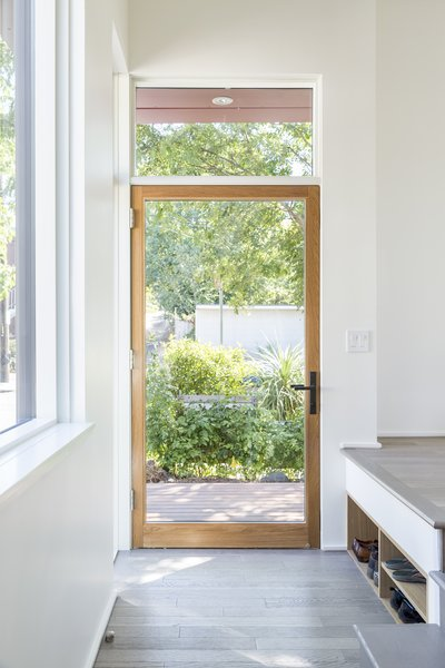 Large glass and wood front door