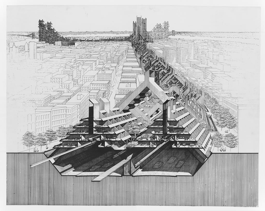 Lower Manhattan Expressway, New York City. Paul Rudolph,  architect  Metabolist Architure