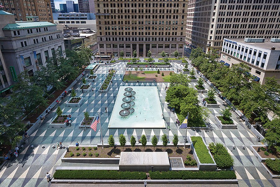 Mellon Square  Design Award of Excellence, Civic/Institutional  Originally designed by landscape architect Simonds & Simonds and architect Mitchell & Ritchey, Mellon Square is known to be one of the nation's oldest modern urban plazas. The restored park is built on top of a parking garage and overlooks a busy downtown street.   Greatness Restored: The 2016 Modernism in America Awards